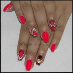 Gel nails, coral neon and geometric design