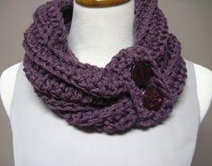 Chunky Bulky Button Crochet Cowl:  Dusty Purple Plum with 2 Buttons. $24.00, via Etsy.