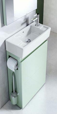 62 DIY Tiny House Storage and Organization Ideas On A Budget – Vanchitecture Bathroom Sink Design, Small Bathroom Sinks, Tiny House Bathroom, Bathroom Ideas, Bathroom Hacks, Bathroom Vanities, Bathroom Remodeling, White Bathroom, Remodeling Ideas