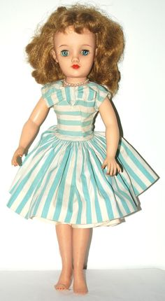 """Vintage Ideal REVLON Doll, 18"""" Blue Striped Dress, VT-18"""