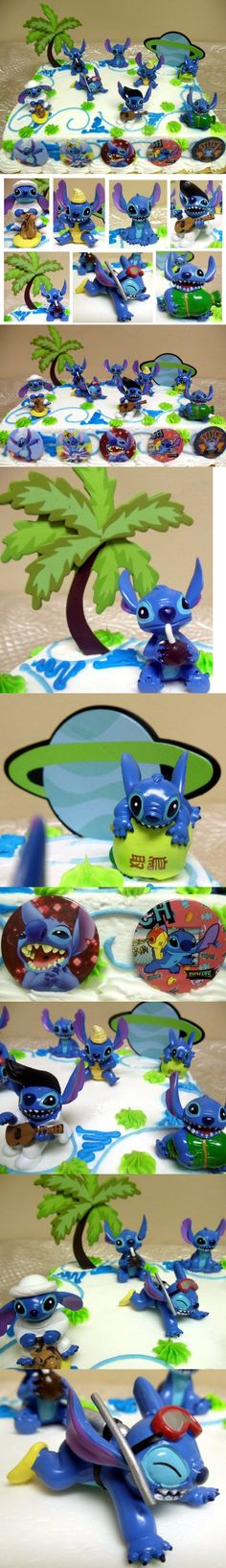 Unique Lilo and Stitch 16 Piece Birthday Cake Topper Set Featuring 8 Stitch Figures, Palm Tree Decorative Piece, Stitch's Rocket Decorative Cake Piece and 6 1 Stitch Decorative Cake Buttons - Cake Supplies - Toys - $24.99