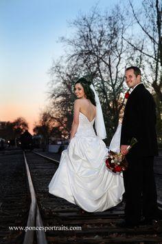Delta King Wedding Venue, Sacramento bride and groom wedding by Ponce's Portraits, Old Sacramento railroad tracks