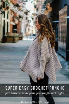 Alpine Poncho Free Crochet Pattern Do five straight rectangles and combine them in a wonderful poncho. It is available in many sizes in a poncho. Crochet Poncho Patterns, Crochet Shawl, Easy Crochet, Knitting Patterns, Crochet Edgings, Crochet Motif, Knitting Ideas, Double Crochet, Crochet Capas