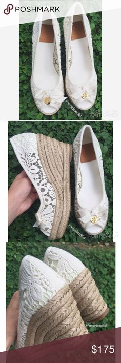 Tory Burch Jackie White Lace Espadrille Wedges Beautiful & in like new condition! • 100% authentic • Tory Burch white lace Espadrille wedges • size 7B • no box included • no flaws • NO TRADES‼️ Tory Burch Shoes Wedges