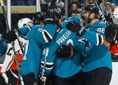 The San Jose Sharks celebrate their third goal of the game against the Anaheim Ducks (Nov. 29, 2014).