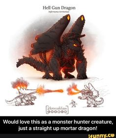 Hell Gun Dragon mm mm m, m, m. Would love this as a monster hunter creature, just a straight up mortar dragon! - Would love this as a monster hunter creature, just a straight up mortar dragon! Types Of Dragons, Cute Dragons, Weird Creatures, Fantasy Creatures, Hunter Pokemon, Monster Musume Manga, Monster Hunter Art, Myths & Monsters, Creepy Monster