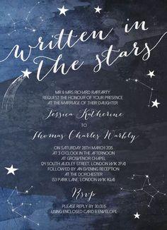 Midnight Stars Wedding Invitation #weddinginvitation