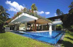 beautiful glass edged wall pool
