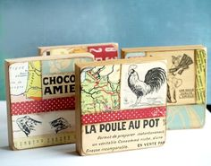 La Poule  Original Mixed Media Collage Art Block by UlaPhelep, $47.00