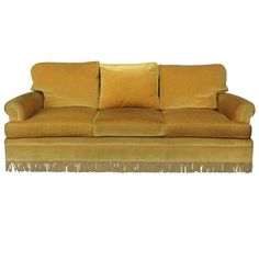 Gold Velvet Sofa with Fringe   From a unique collection of antique and modern sofas at http://www.1stdibs.com/seating/sofas/