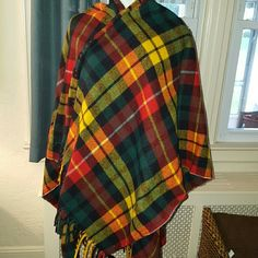 HOST PICK Vintage tartan plaid shawl coat I bought this at the Williamsburg flea market and I'm very high price last year. I wore it once last year and I'm allergic to the wool. Reasonable offers are fone. Please no low ball offers. This is a wrap shawl Vintage Jackets & Coats