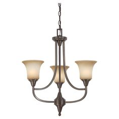 Vintaged bronze chandelier with glass shades.   Product: ChandelierConstruction Material: Metal and glass