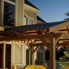Complete the look of your Lodge II wood pergola, while gaining extra protection from the sun and rain by adding this forest green metal roof. This easy-to-install roof gives your pergola a full roof closure and protection. Pergola Canopy, Pergola Swing, Metal Pergola, Pergola With Roof, Outdoor Pergola, Covered Pergola, Backyard Pergola, Pergola Shade, Patio Roof