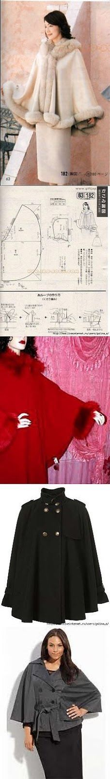 Discover thousands of images about Faux fur poncho Diy Clothing, Clothing Patterns, Dress Patterns, Sewing Patterns, Sewing Dress, Sewing Clothes, Fashion Sewing, Diy Fashion, Sewing Hacks