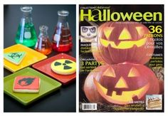 """Cookies made for a """"Crazy scientist"""" theme party, published in Celebrons magazine. Photo by Karine Dontigny photographe. Crazy Scientist, Halloween, Pumpkin Carving, Party Themes, Magazine, Cookies, Biscuits, Warehouse, Cookie Recipes"""