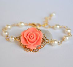 Coral Jewelry - Coral Rose Bracelet with Ivory Swarovski Pearls Coral Jewelry, Cute Jewelry, Jewelry Gifts, Jewelry Box, Jewelery, Jewelry Bracelets, Vintage Jewelry, Jewelry Accessories, Jewelry Stores