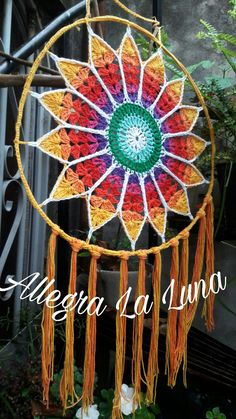 Tree of Life Wall Art / Macrame Decor / Personalized Gift / Suncatcher / Unique Gift / Woven with Cotton & Glass Beads on Small Hoop Motif Mandala Crochet, Mandala Art, Crochet Doilies, Crochet Flowers, Dreamcatcher Crochet, Crochet Designs, Crochet Patterns, Dream Catcher Patterns, Crochet Wall Hangings