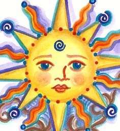 Tree painting, Celestial Tree, Sun with face, Personalized Art on Etsy, $20.00