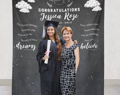 This photo backdrop is perfect for your recent graduate! This graduation party decor will match any decor theme and will be great in photos! Graduation ideas, graduation decor ideas, graduation party decor.
