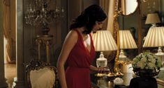 The red dress brought to venice by vesper lynd (eva green) in casino royale Eva Green Casino Royale, Casino Royale Dress, Casino Dress, Casino Outfit, James Bond Party, Peter O'toole, James D'arcy, Casino Party Decorations, Casino Theme Parties