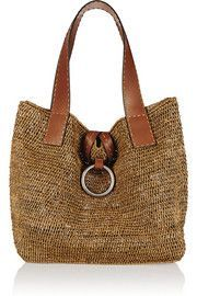 Michael Kors Janey large raffia and leather tote