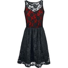 Black Premium by EMP Darling Dress Dress black-red ❤ liked on Polyvore featuring dresses, red dresses and red day dress