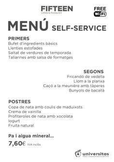 Nuestro self-service de hoy en Fifteen. #Dieta #Mediterránea y #precio #anticrisis: