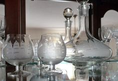 Toscany Etched Crystal Clipper Ship Decanter Set with 6 Brandy...