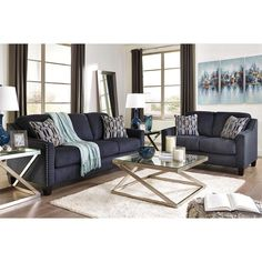 Axel Sofa - Ink - Upholstered in a striking midnight blue fabric with a soft brushed feel, the Axel sofa is undeniably handsome. Living Room Goals, Living Room Decor, Modern Coffee Table Sets, Queen Sofa Sleeper, Queen Memory Foam Mattress, Signature Design, Toss Pillows, Table Settings, Contemporary