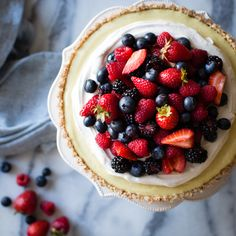 No-Bake Lemon Berry Coconut Cream Tart {vegan, gluten-free, refined sugar-free}