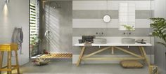 Marazzi Oficina7 Wandfliesen im Design Beton. Tolle Kombination mit Fliesen in Betonoptik.