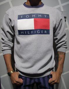 Vintage 90s Tommy Hilfiger Crewneck Sweatshirt Size by Kokorokoko, $44.00