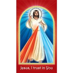 Divine Mercy prayer card - Jesus I Trust in You
