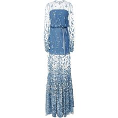 Alexis Corra Illusion Dress (£855) ❤ liked on Polyvore featuring dresses, blue, ruffle hem dress, blue overlay dress, flare dress, bow dress and overlay dress