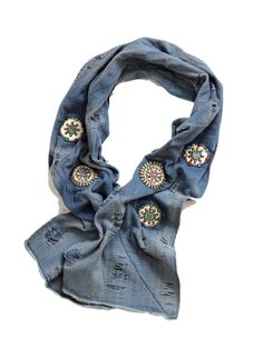 Jeans and jean shirt restyle - distressed denim scarf embellished with conchoes