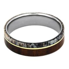 Titanium Ring with Ironwood Deer Antler and 14k by jewelrybyjohan