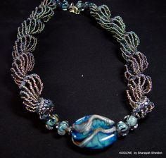 The Blues:  Dutch Spiral  Cellini Bead Woven Necklace On Sale Was 195.00 Now 160,00