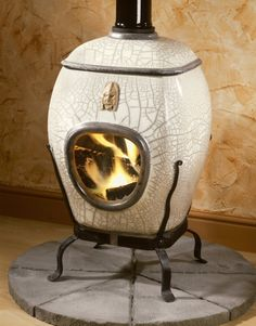 Ceramic Wood Burning Stove - White Crackle
