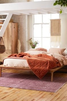15 best cheap home decor websites - how to buy affordable decor online Urban Outfitters Bedding, Urban Outfitters Home, Rustic Platform Bed, Platform Bed Frame, Ikea Platform Bed, Home Design, Reema Floor Cushion, Wooden Canopy Bed, Rattan Bed Frame