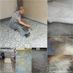 Mixing and Layering Stencil Patterns with Celeste Korthase - Wall Mural Stencils by Royal Design Studio(Mix Wood Furniture) Wall Stencil Designs, Stencil Patterns, Painting Patterns, Lace Patterns, Lace Painting, Stenciled Floor, Floor Art, Royal Design, Concrete Design
