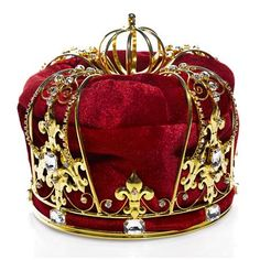 Your king will reign supreme in this regal coronation crown with gold metal, rhinestones, and red velvet for a truly regal look. Pageant Crowns, Tiaras And Crowns, Male Crown, Kings Crown, Kraut, Reign, Red Velvet, Louis Vuitton Monogram, Supreme