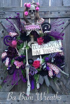 Momma Bones Skeleton Wreath Skeleton Decor by BaBamWreaths on Etsy