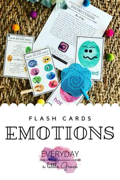 """Teach your little ones how to name those big feelings with these Emotions Flash Cards & """"How Do You Feel?"""" Clip Card Set. Perfect for toddlers and can be combined with a binder ring and clothespin for the perfect take along activity. Emotions Preschool, Preschool Learning Activities, Home Learning, Motor Activities, Emotions Cards, Flip Flop Wreaths, Different Emotions, Tot School, Printable Cards"""