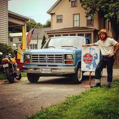 No Parking Please #1976 #honda #supersport #1983 #ford #f100 #antique #vehicle #maine #workwear #menswear #redwing #risingsunjeans #denim #ladywhiteco #traditional #tattoo @ladywhite_co