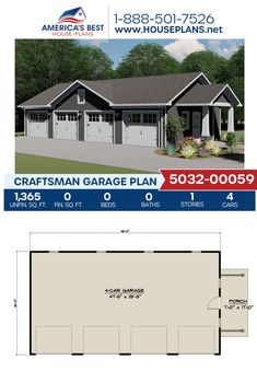A Craftsman garage design, Plan 5032-00059 delivers 1,365 sq. ft. for 4 cars. #craftsman #garage #garageplans #architecture #houseplans #housedesign #homedesign #homedesigns #architecturalplans #newconstruction #floorplans #dreamhome #dreamhouseplans #abhouseplans #besthouseplans #newhome #newhouse #homesweethome #buildingahome #buildahome #residentialplans #residentialhome