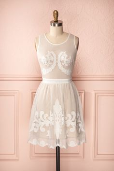 Prudence - Beige dress with detailed white mesh and lace overlay