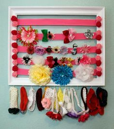 DIY Ribbon Hairbow Storage Frame. Our Home featured in InkKC! | Handmade in the Heartland