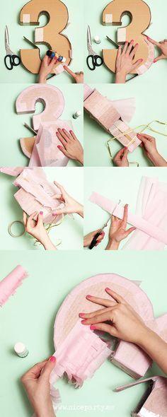 Nice Party: Cómo hacer una piñata paso a paso. Piñata con forma de número 3