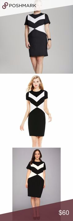 Vince Black & White Chevron Stripe Dress 14W Plus A chevron stripe and triangular side panels on the front and back highlight the pretty silhouette of this cap sleeve dress. Black & white colorblock dress accentuates the figure in a nice, heavy ponte knit. 69% Nylon, 26% Rayon, 5% Spandex Back zip closure Style: Pop Culture Select Color: Rich Black Style: 9163912 Dress in excellent like new condition Vince Camuto Dresses