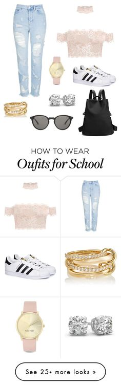 """Cute and Casual"" by fashionbumblebee1 on Polyvore featuring Topshop, adidas, Nine West, Oliver Peoples and SPINELLI KILCOLLIN"